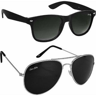 Silver Kartz UV Protection Aviator and Wayfarer Unisex Sunglasses (scav033Black) - Pack of 2