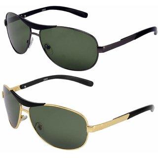 Silver Kartz Metal-Crown Wayfarer Rectangular Combo Unisex Sunglasses (AV03540Multicolour)