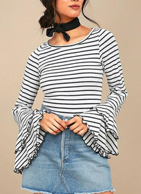 Code Yellow Women's Black White Stripes Bell Sleeves Top