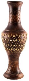 Desi Karigar Handcrafted Wooden Flower Vase With Brass Carving For Home Decor