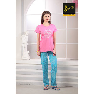 Lenissa Women's Night suits - Night Dress - Loungewear - Printed - Half Sleev - Pyjama set - 100 Cotton - Pyjama  T shirt set