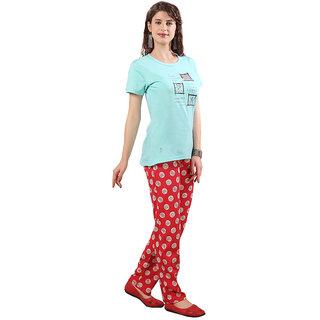 Lenissa Women's Night suits - Night Dress - Loungewear - Printed - Half Sleev - Pyjama set - 100 Cotton - Pyjama  T shirt set