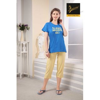 Lenissa Women's Night suits - Night Dress - Loungewear - Printed - Half Sleev - Capri set - 100 Cotton - Capri  T shirt set