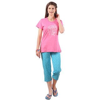 Lenissa Women's Night suits - Night Dress - Loungewear - Printed - Half Sleev - Capri set - 100 Cotton - Capri  T shirt set