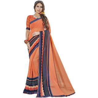 Kvsfab Peach  Navy Blue Color Printed Georgette Saree KVSSR7805MARIA4