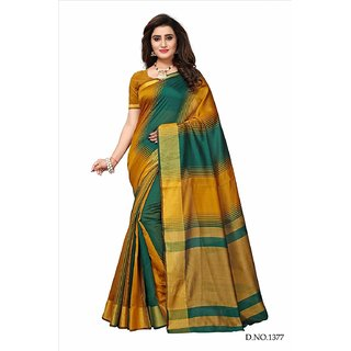 Bhuwal Fashion Multicolor Striped Polycotton Saree With Blouse