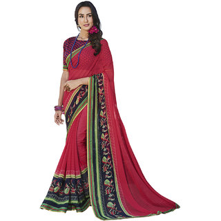 Kvsfab Coral/Pink  Multii Color Printed Georgette Saree KVSSR7810MARIA4