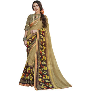 Kvsfab Beige  Multi Color Printed Georgette Saree KVSSR7811MARIA4