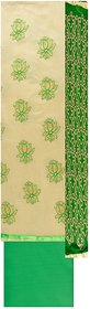 Ethnic Chanderi Cotton Off White  Green Salwar material