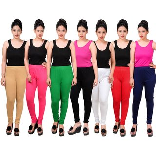 MAA-AADYA Set of 7pcs multicolor Cotton leggings for Women
