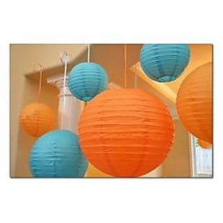 paper lantern round pack of 10  color orange light blue