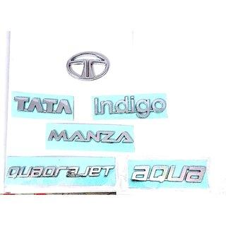 Logo TATA INDIGO MANZA AURA QUADRAJET Monogram Emblem Chrome Graphics Decals Mono REAR KIT COMPLETE