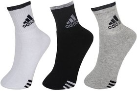 Adidas Multicolor Cotton Ankle Socks For Unisex - Pack of 3