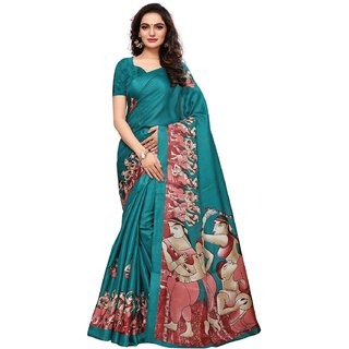 Swaron Turquoise Khadi Silk Printed Saree with Unstitched Blouse