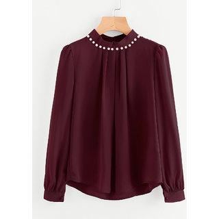 Code Yellow Women's Maroon Casual Full Sleeves Pearl Top