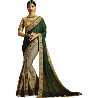 Kvsfab Grey  Green Color Georgette Embroidery Saree KVSSR7706ANY2