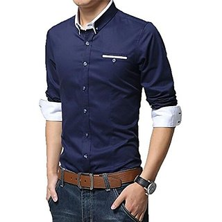 Gladiator Products Unique Design Plain Shirt Navy And White