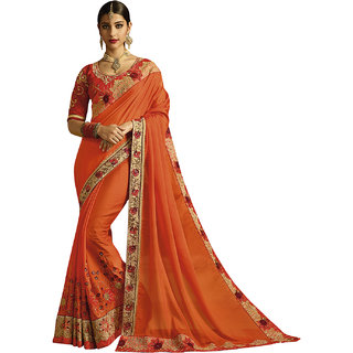 Kvsfab Orange Color Georgette Embroidery Saree KVSSR7710ANY2