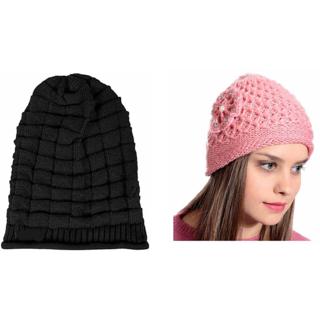 48a2ee99163 Buy Tahiro Black Beanie And Pink Flower Woollen Cap - Pack Of 2 Online -  Get 27% Off