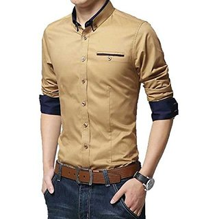 GLADIATOR PRODUCTS PLAIN SHIRT BEIGE (LIGHT GOLD) WITH NAVY