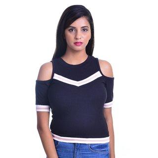 Timbre Women Cold Shoulder T Shirt Top Black