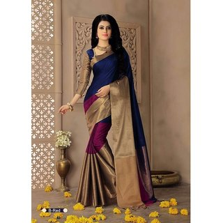 Indian Beauty Art Cotton Silk Multi Color Partywear With Blouse Saree