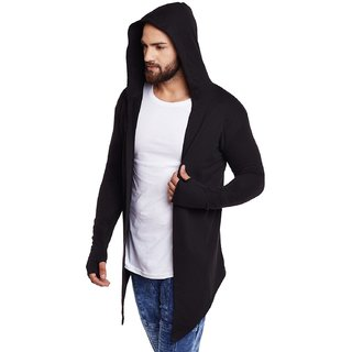 Pause Plain Black Cotton Blend Hooded Casual Shrug T-Shirt