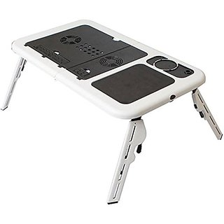 AVMART Portable Folding Laptop Desk Stand Laptop Table with Adjustable Legs 2 Cooling Fans and USB Port -WHITE