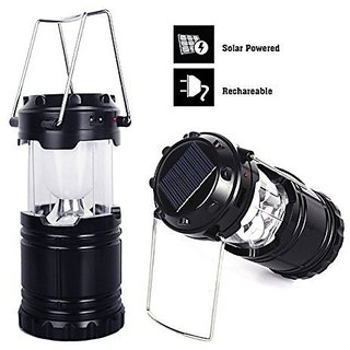 Favourite Deals Metal Hanging Solar Lantern + Phone Charging USB Cable ( Black )
