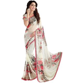 Indian Beauty Women's White Georgette Printed Saree With Blouse Piece