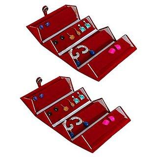 atorakushon Earrings Organizer, jewellery Box, jewellry pouch,Attractive Look .Girls Vanity Box Pack of 2 (Maroon)