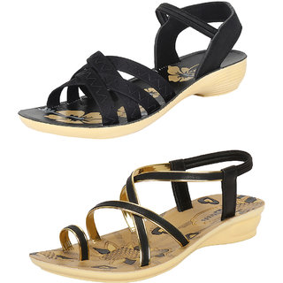 Pack of 2 Bersache Multicolor Slip on Sandal For Women