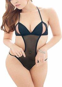 Billebon- Women Lingerie Mini Babydoll Sleepwear Teddy Dress (Black)