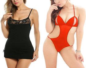 Billebon Combo of Women Nightwear Babydoll Dress with G-String Panty (L1 - Black-L9 - Red)