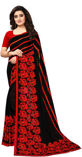 Swaron Black Georgette Printed Saree With Unstitched Blouse