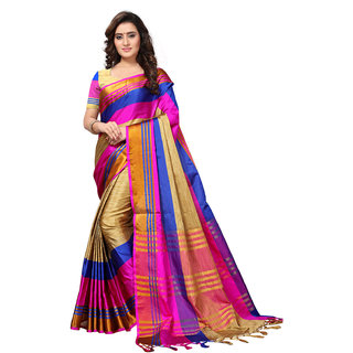 Swaron Beige Poly Silk Woven Patta Saree With Unstitched Blouse