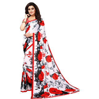 Swaron Off White Georgette Printed Saree With Unstitched Blouse