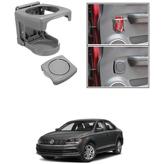 KunjZone Foldable Car Drink/Can/Glass/Bottle Holder Set of 2 Grey for Volkswagen Jetta