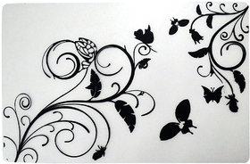 Khushi Creation Premium Quality Fridge Drawer Mats/Fridge Mats Pack of 6 Pcs 11X17 Inches(Black  White)