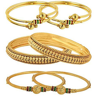 YouBella Valentine Alloy Gold Plated Combo of 3 Bangles Jewellery for Women (Gold)