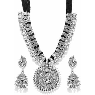 7570eda9dc909 YouBella Antique German Silver Oxidised Plated Tribal Cotton Thread  Necklace Earrings Jewlery Set for Women(Black)