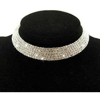YouBella Fashion Jewellery Silver Crystal Rhinestone Choker Necklace for Women.(Valentine Gift Special). (Four LINE)