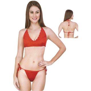soha Super red  Lace Wire Free Bra panty set