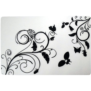 Khushi Creation Premium Quality Fridge Drawer Mats/Fridge Mats Pack of 6 Pcs 11X17 Inches(Black  White)