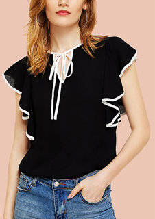 Code Yellow Women's Solid Black White Line Sleeves Crepe Ruffled Top