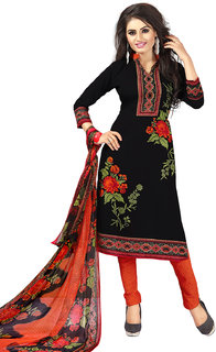 Swaron Black and Orange Crepe Printed Unstitched Dress Material