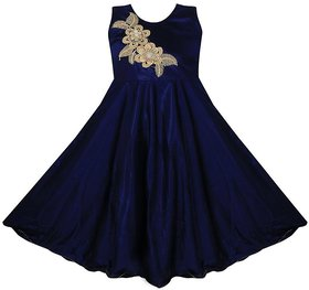 Princeandprincess Navy Lycra Party Wear Dress For Girls