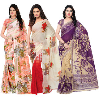 Anand Sarees Women's Faux Georgette Multi Color Printed Pack Of 3 Sarees With Blouse Piece ( TRIO_1080_1086_6_1287 )