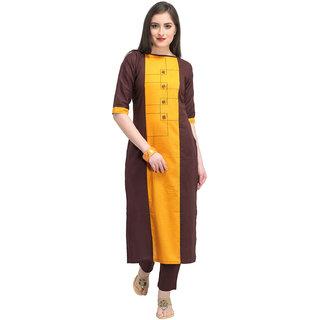 Swaron Yellow and Brown Cotton Stitched Kurta