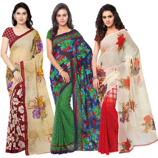 Anand Sarees Women's Faux Georgette Multi Color Printed Pack Of 3 Sarees With Blouse Piece ( TRIO_1080_1107_1_2942_4 )